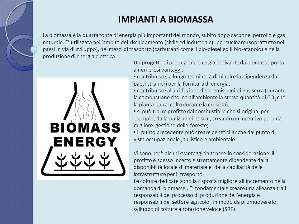IMPIANTI A BIOMASSA La biomassa è la quarta fonte di energia più importanti del mondo, subito dopo carbone, petrolio e gas naturale. E' utilizzata nel