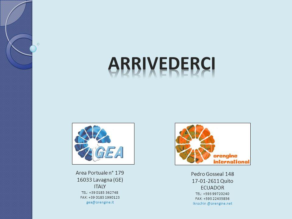 Area Portuale n° 179 16033 Lavagna (GE) ITALY TEL: +39 0185 362748 FAX: +39 0185 1990123 gea@orengine.it Pedro Gosseal 148 17-01-2611 Quito ECUADOR TE