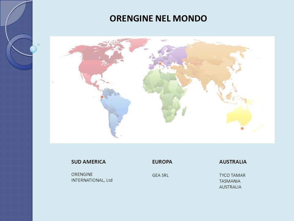 ORENGINE NEL MONDO SUD AMERICA ORENGINE INTERNATIONAL, Ltd EUROPA GEA SRL AUSTRALIA TYCO TAMAR TASMANIA AUSTRALIA