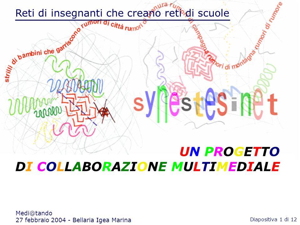 Reti di insegnanti che creano reti di scuole Medi@tando 27 febbraio 2004 - Bellaria Igea Marina Reti di insegnanti che creano reti di scuole UN PROGETTO DI COLLABORAZIONE MULTIMEDIALE Diapositiva 1 di 12