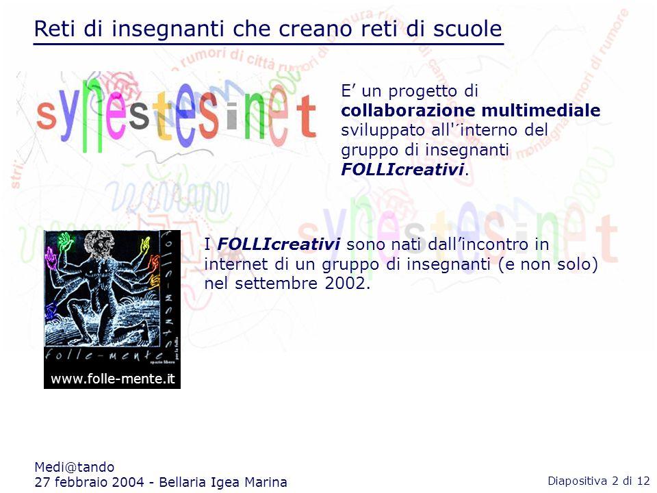 Reti di insegnanti che creano reti di scuole Medi@tando 27 febbraio 2004 - Bellaria Igea Marina www.folle-mente.it E un progetto di collaborazione multimediale sviluppato all ´interno del gruppo di insegnanti FOLLIcreativi.