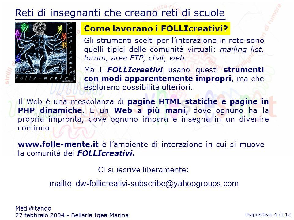 Reti di insegnanti che creano reti di scuole Medi@tando 27 febbraio 2004 - Bellaria Igea Marina Ci si iscrive liberamente: mailto: dw-follicreativi-subscribe@yahoogroups.com Come lavorano i FOLLIcreativi.
