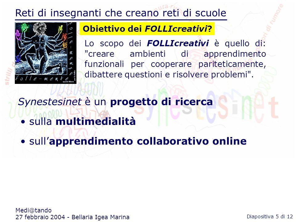 Reti di insegnanti che creano reti di scuole Medi@tando 27 febbraio 2004 - Bellaria Igea Marina Lo scopo dei FOLLIcreativi è quello di: creare ambienti di apprendimento funzionali per cooperare pariteticamente, dibattere questioni e risolvere problemi .
