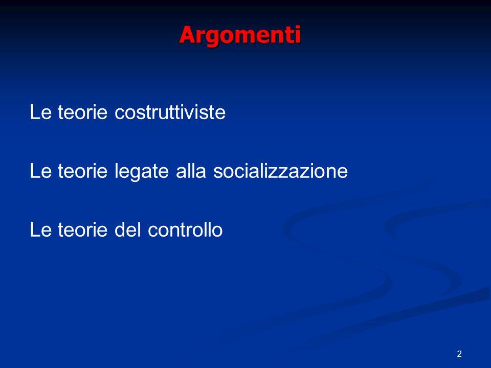 2 Argomenti Le teorie costruttiviste Le teorie legate alla socializzazione Le teorie del controllo