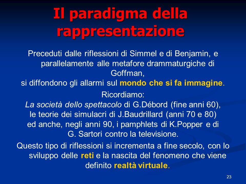 23 Il paradigma della rappresentazione Preceduti dalle riflessioni di Simmel e di Benjamin, e parallelamente alle metafore drammaturgiche di Goffman, si diffondono gli allarmi sul mondo che si fa immagine.
