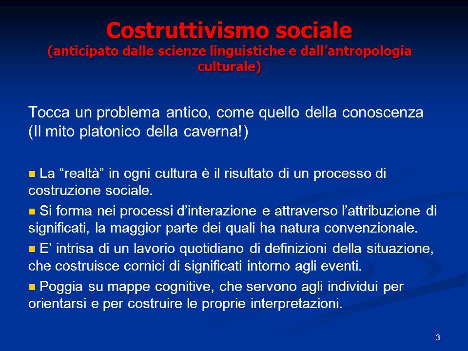 3 Costruttivismo sociale (anticipato dalle scienze linguistiche e dallantropologia culturale) Tocca un problema antico, come quello della conoscenza (Il mito platonico della caverna!) La realtà in ogni cultura è il risultato di un processo di costruzione sociale.