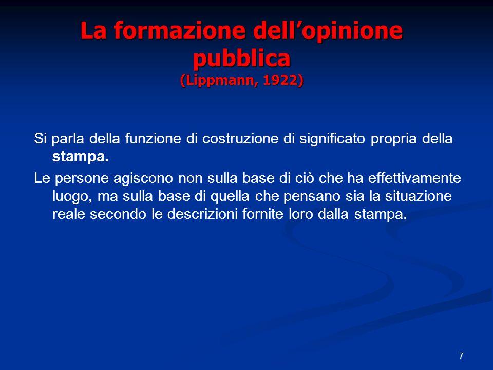 7 La formazione dellopinione pubblica (Lippmann, 1922) Si parla della funzione di costruzione di significato propria della stampa.