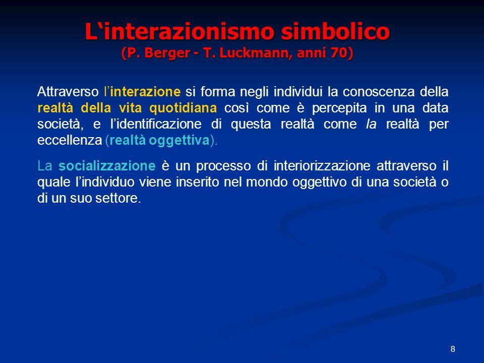 8 Linterazionismo simbolico (P. Berger - T.