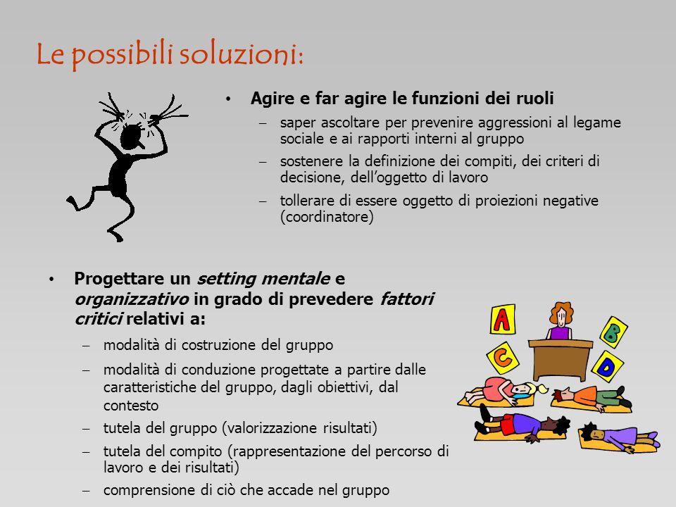 Agire e far agire le funzioni dei ruoli – saper ascoltare per prevenire aggressioni al legame sociale e ai rapporti interni al gruppo – sostenere la d