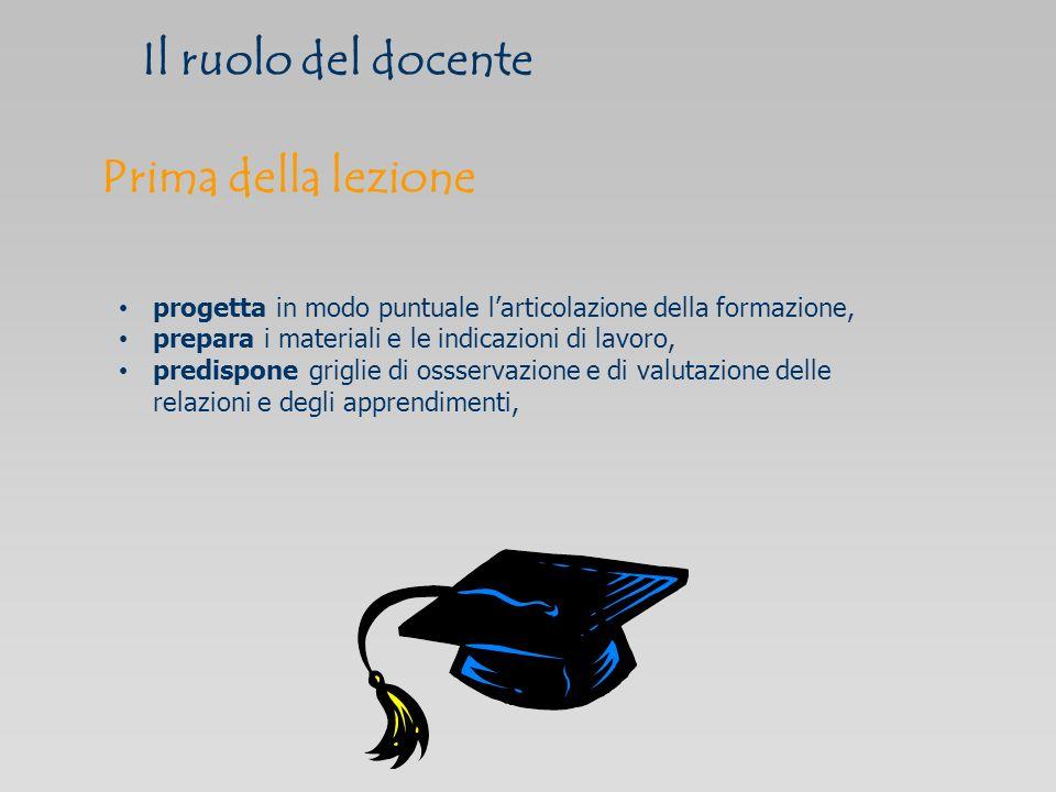 Il ruolo del docente progetta in modo puntuale larticolazione della formazione, prepara i materiali e le indicazioni di lavoro, predispone griglie di