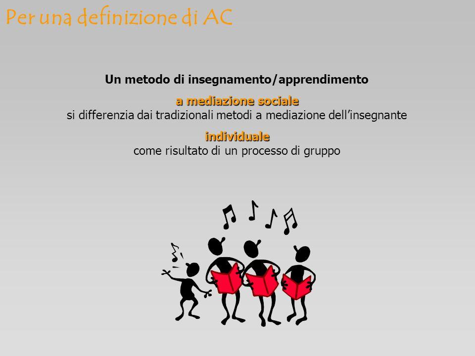 Per una definizione di AC Un metodo di insegnamento/apprendimento a mediazione sociale a mediazione sociale si differenzia dai tradizionali metodi a m