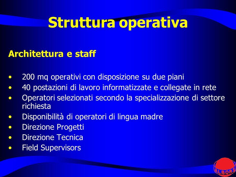 Architettura e staff 200 mq operativi con disposizione su due piani 40 postazioni di lavoro informatizzate e collegate in rete Operatori selezionati s