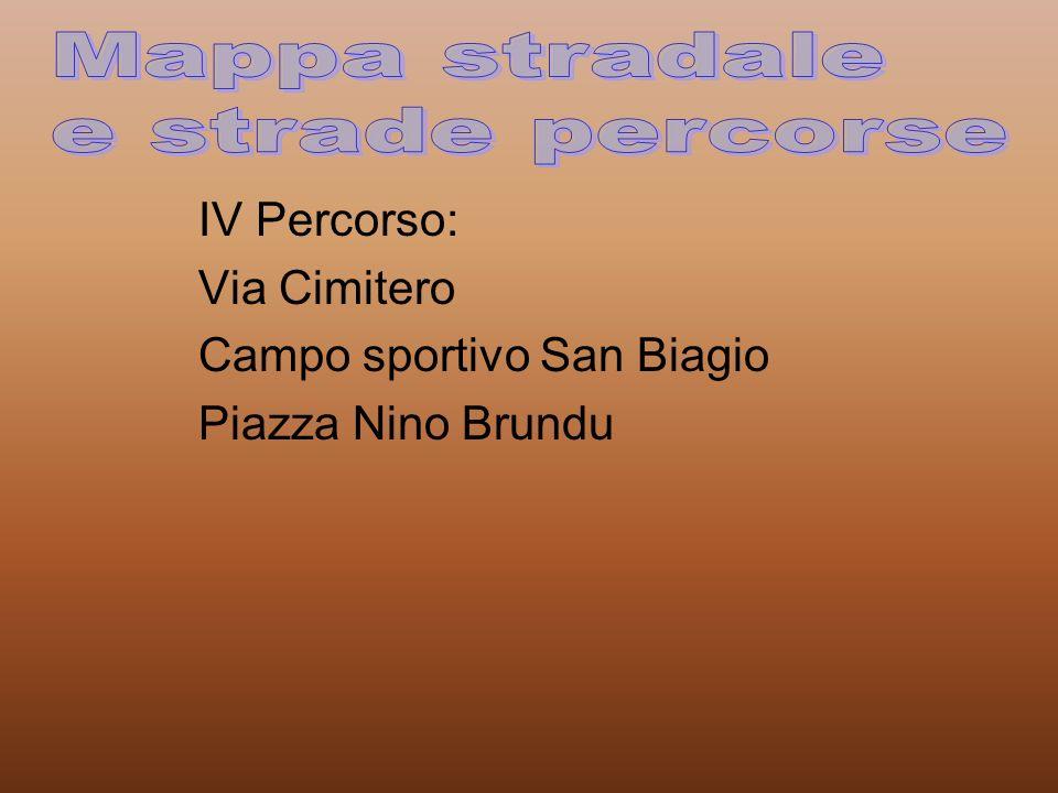 IV Percorso: Via Cimitero Campo sportivo San Biagio Piazza Nino Brundu
