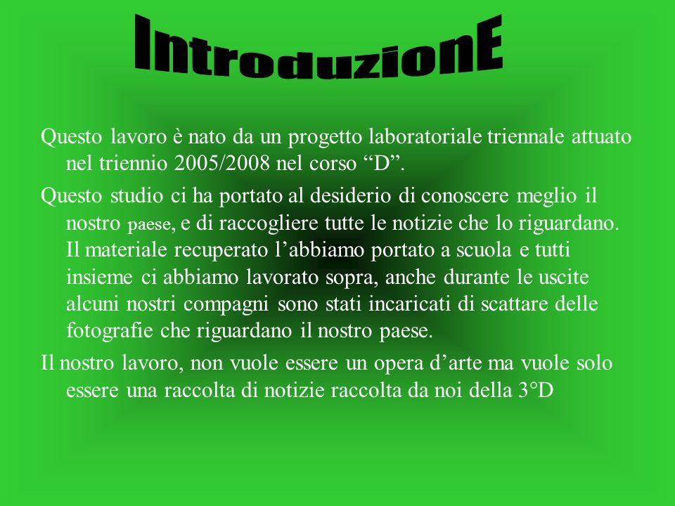 Questo lavoro è nato da un progetto laboratoriale triennale attuato nel triennio 2005/2008 nel corso D.