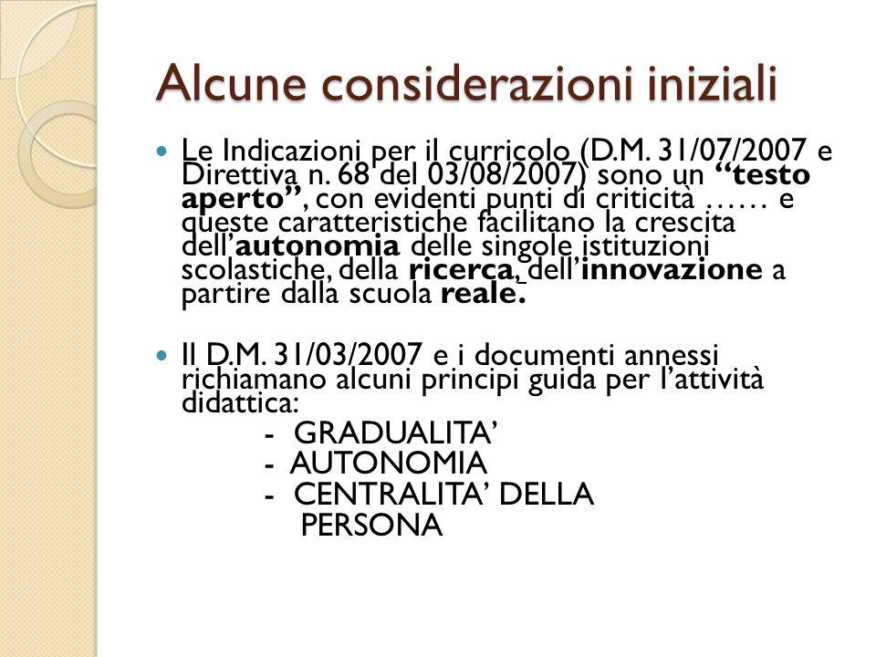 Alcune considerazioni iniziali Alcune considerazioni iniziali Le Indicazioni per il curricolo (D.M. 31/07/2007 e Direttiva n. 68 del 03/08/2007) sono
