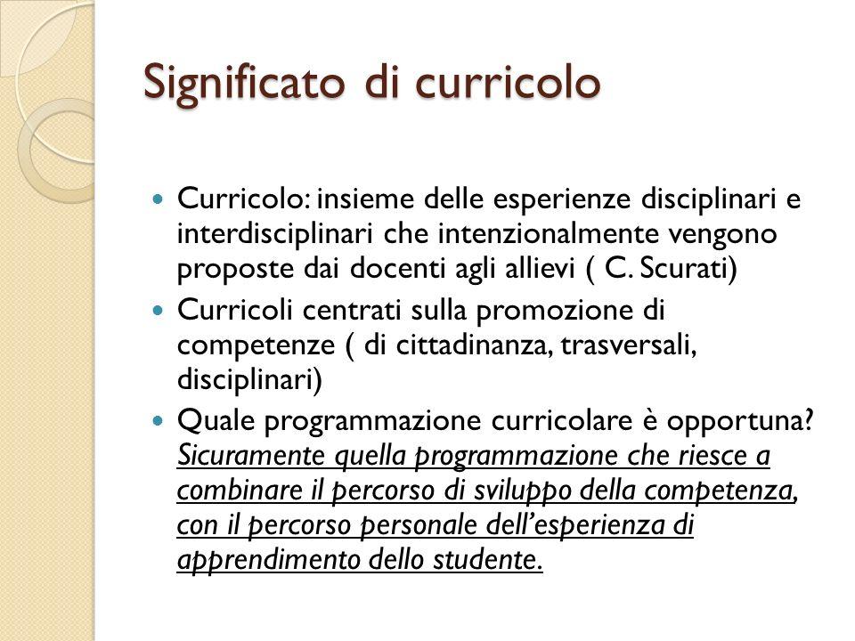 Significato di curricolo Curricolo: insieme delle esperienze disciplinari e interdisciplinari che intenzionalmente vengono proposte dai docenti agli a