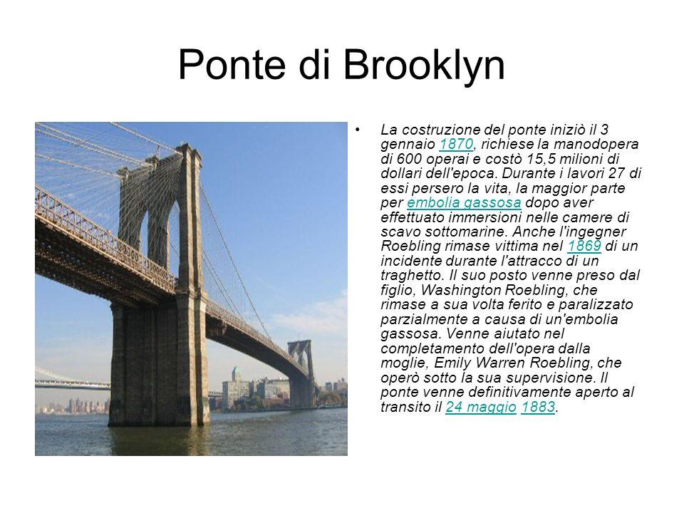 Ponte di Brooklyn La costruzione del ponte iniziò il 3 gennaio 1870, richiese la manodopera di 600 operai e costò 15,5 milioni di dollari dell'epoca.