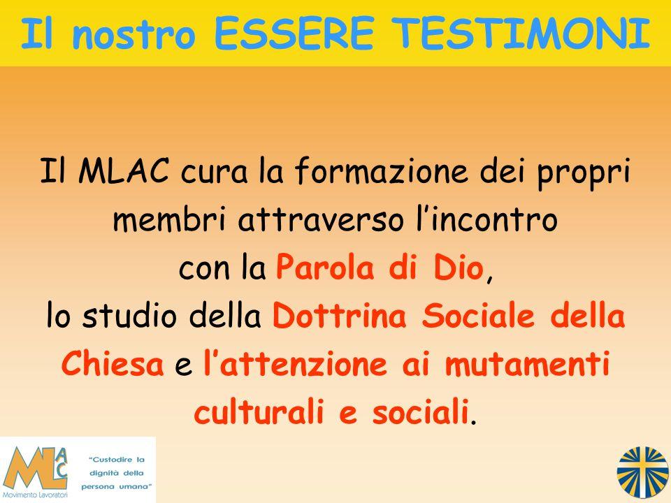 Il MLAC cura la formazione dei propri membri attraverso lincontro con la Parola di Dio, lo studio della Dottrina Sociale della Chiesa e lattenzione ai mutamenti culturali e sociali.