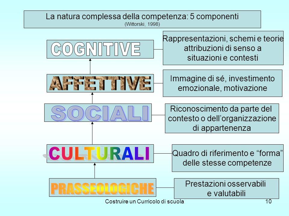 Costruire un Curricolo di scuola10 La natura complessa della competenza: 5 componenti (Wittorski, 1998) Prestazioni osservabili e valutabili Quadro di