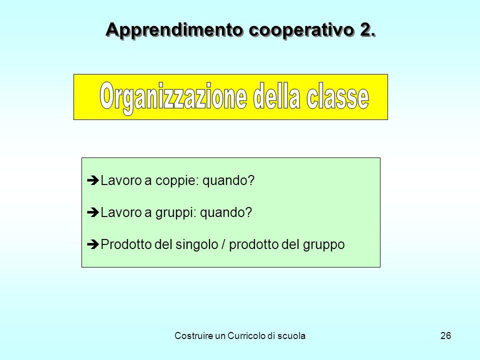 Costruire un Curricolo di scuola26 Lavoro a coppie: quando? Lavoro a gruppi: quando? Prodotto del singolo / prodotto del gruppo Apprendimento cooperat