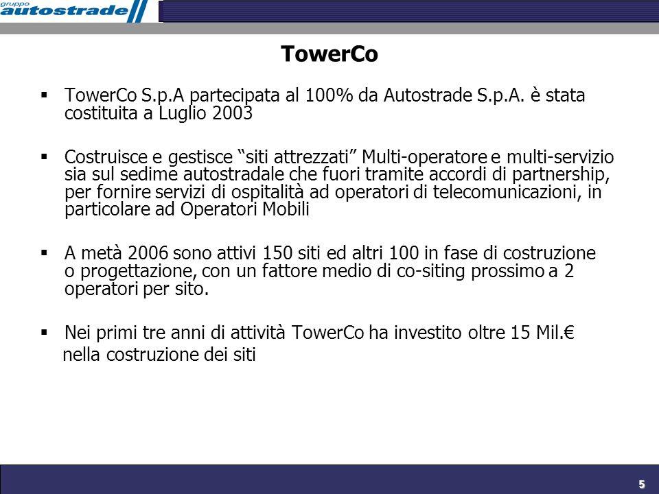 5 TowerCo TowerCo S.p.A partecipata al 100% da Autostrade S.p.A. è stata costituita a Luglio 2003 Costruisce e gestisce siti attrezzati Multi-operator