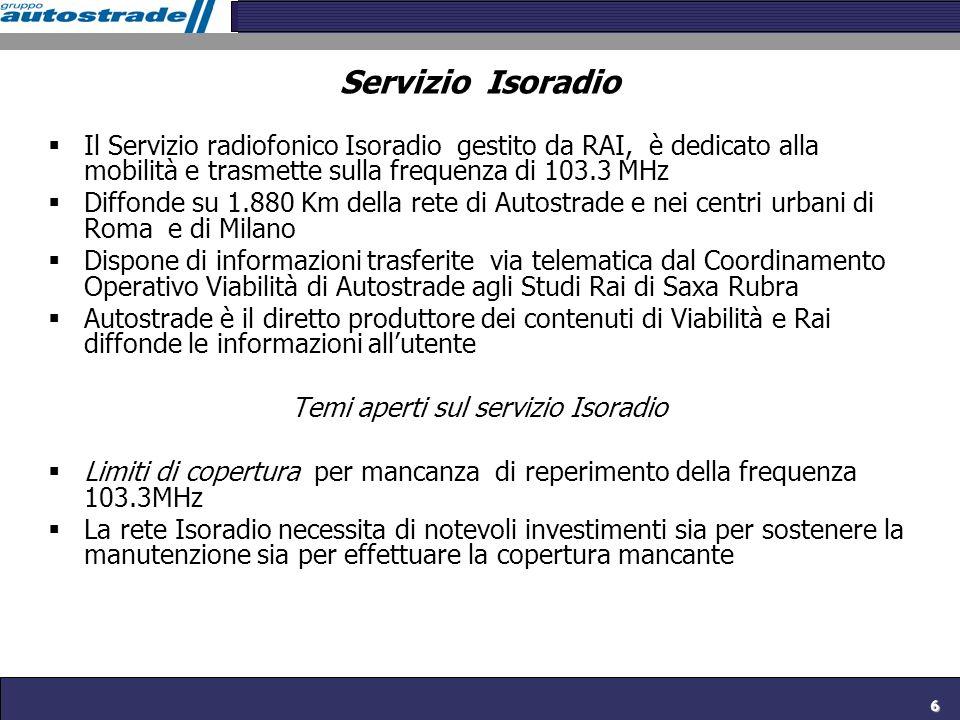 6 Servizio Isoradio Il Servizio radiofonico Isoradio gestito da RAI, è dedicato alla mobilità e trasmette sulla frequenza di 103.3 MHz Diffonde su 1.8