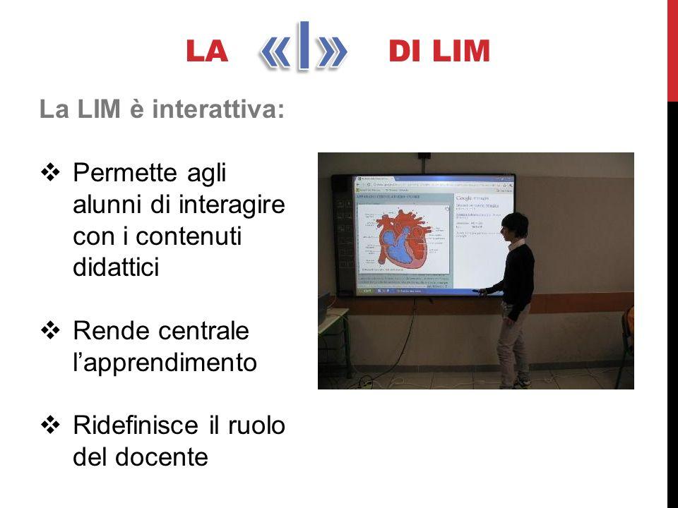 LA DI LIM La LIM è interattiva: Permette agli alunni di interagire con i contenuti didattici Rende centrale lapprendimento Ridefinisce il ruolo del do