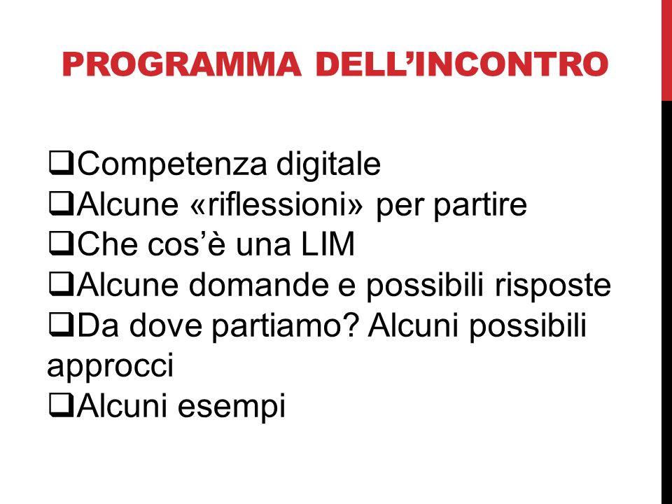 PROGRAMMA DELLINCONTRO Competenza digitale Alcune «riflessioni» per partire Che cosè una LIM Alcune domande e possibili risposte Da dove partiamo? Alc