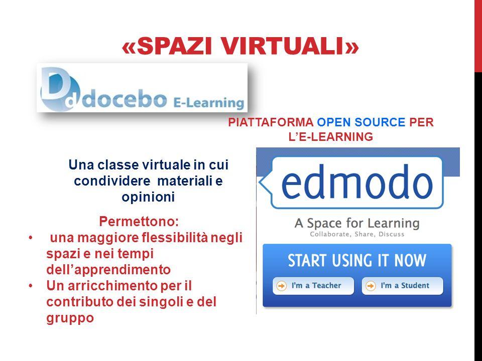 «SPAZI VIRTUALI» PIATTAFORMA OPEN SOURCE PER LE-LEARNING Una classe virtuale in cui condividere materiali e opinioni Permettono: una maggiore flessibi