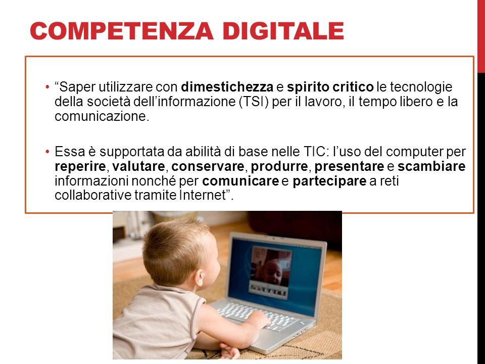 COMPETENZA DIGITALE Saper utilizzare con dimestichezza e spirito critico le tecnologie della società dellinformazione (TSI) per il lavoro, il tempo li