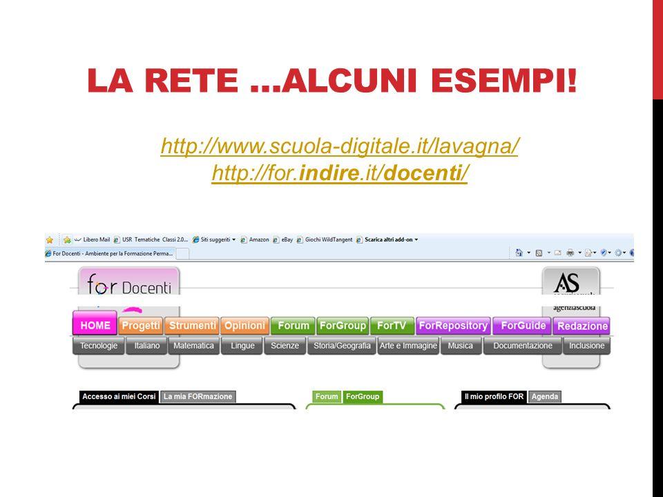 LA RETE …ALCUNI ESEMPI! http://www.scuola-digitale.it/lavagna/ http://for.indire.it/docenti/