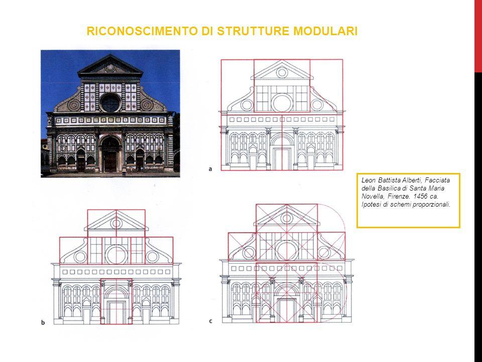 RICONOSCIMENTO DI STRUTTURE MODULARI Leon Battista Alberti, Facciata della Basilica di Santa Maria Novella, Firenze. 1456 ca. Ipotesi di schemi propor