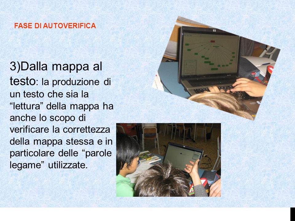 3)Dalla mappa al testo : la produzione di un testo che sia lalettura della mappa ha anche lo scopo di verificare la correttezza della mappa stessa e i