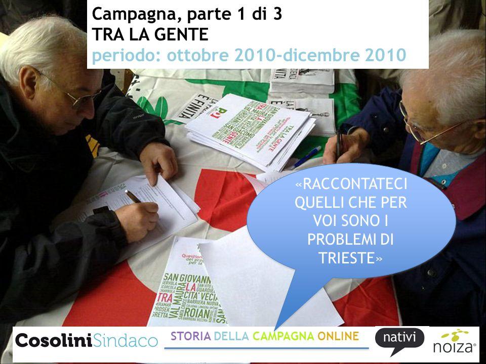 Campagna, parte 1 di 3 TRA LA GENTE periodo: ottobre 2010-dicembre 2010 STORIA DELLA CAMPAGNA ONLINE «RACCONTATECI QUELLI CHE PER VOI SONO I PROBLEMI DI TRIESTE»