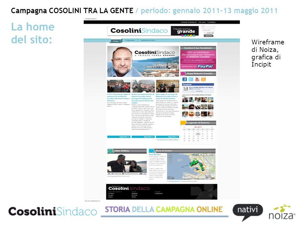 Campagna COSOLINI TRA LA GENTE / periodo: gennaio 2011-13 maggio 2011 La home del sito: Wireframe di Noiza, grafica di Incipit