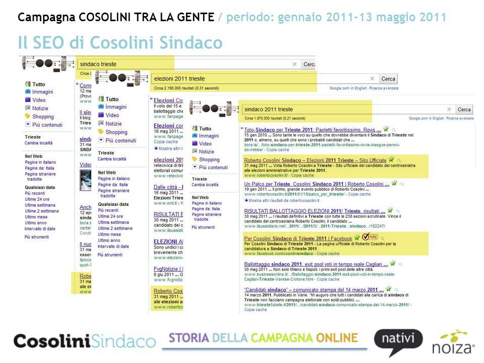 Campagna COSOLINI TRA LA GENTE / periodo: gennaio 2011-13 maggio 2011 Il SEO di Cosolini Sindaco