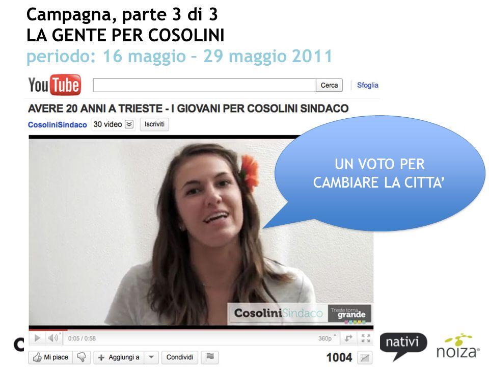 Campagna, parte 3 di 3 LA GENTE PER COSOLINI periodo: 16 maggio – 29 maggio 2011 UN VOTO PER CAMBIARE LA CITTA