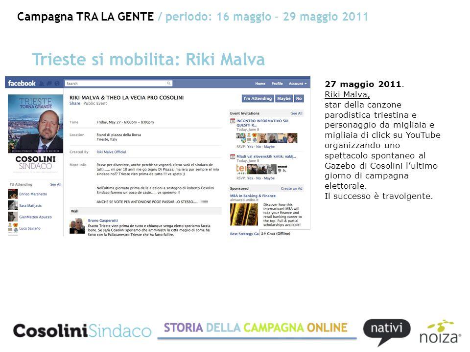 Campagna TRA LA GENTE / periodo: 16 maggio – 29 maggio 2011 Trieste si mobilita: Riki Malva 27 maggio 2011.