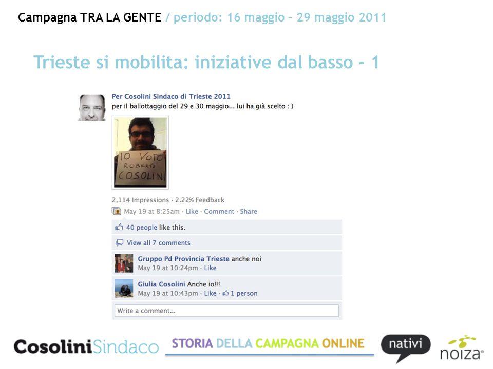 Campagna TRA LA GENTE / periodo: 16 maggio – 29 maggio 2011 Trieste si mobilita: iniziative dal basso - 1
