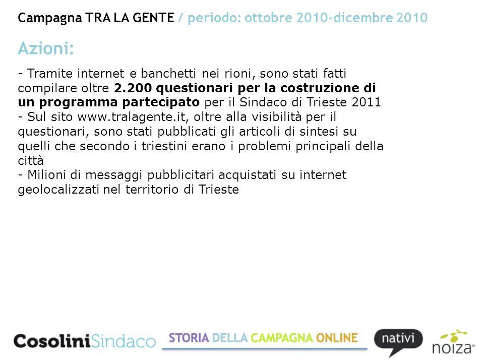 Campagna TRA LA GENTE / periodo: ottobre 2010-dicembre 2010 Wireframe di Noiza, Grafica di Sara Pacor