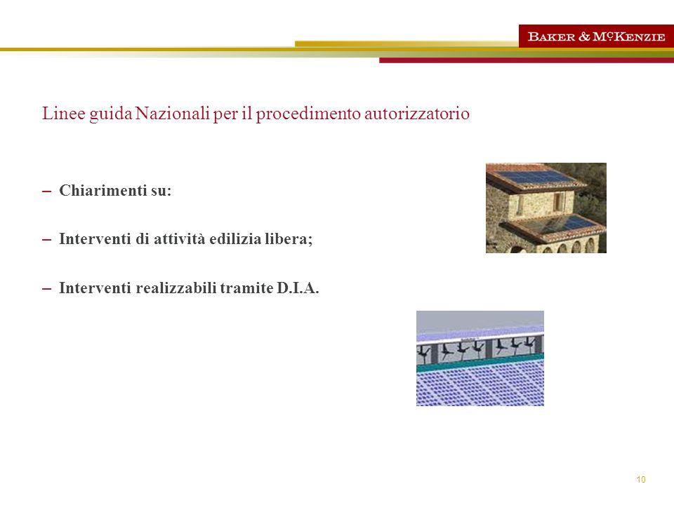 10 Linee guida Nazionali per il procedimento autorizzatorio – Chiarimenti su: – Interventi di attività edilizia libera; – Interventi realizzabili tram