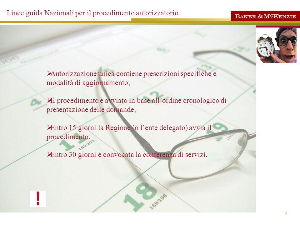 6 Linee guida Nazionali per il procedimento autorizzatorio. Inizio dei lavori di costruzione dellimpianto -1anno Costruzione dellimpianto - 3 anni (pr