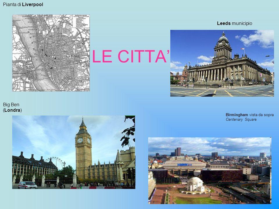 LE CITTA Leeds municipio Pianta di Liverpool Big Ben (Londra) Birmingham vista da sopra Centenary Square