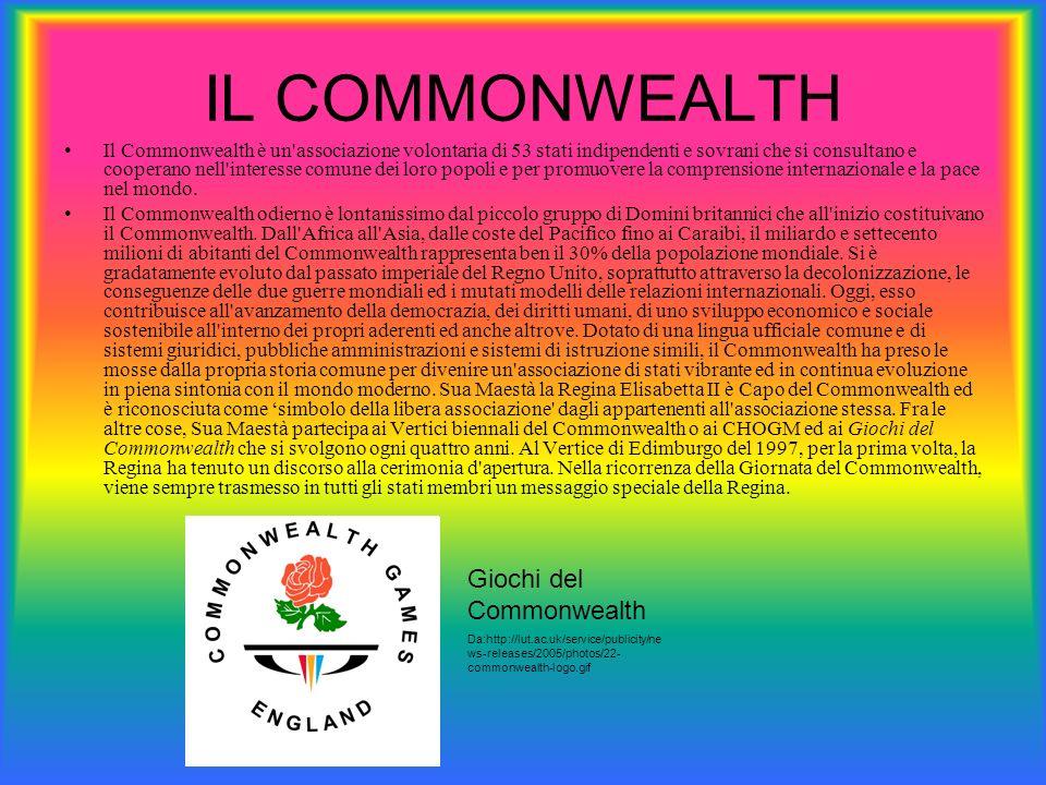 IL COMMONWEALTH Il Commonwealth è un'associazione volontaria di 53 stati indipendenti e sovrani che si consultano e cooperano nell'interesse comune de