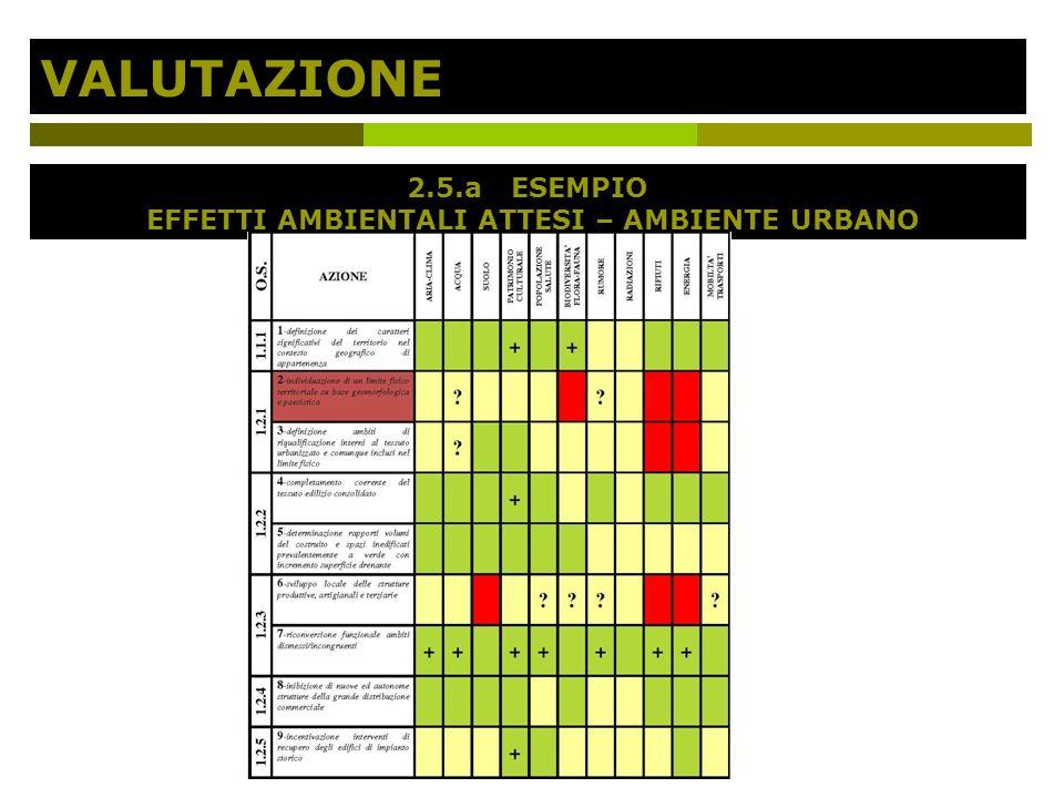 VALUTAZIONE 2.5.aESEMPIO EFFETTI AMBIENTALI ATTESI – AMBIENTE URBANO