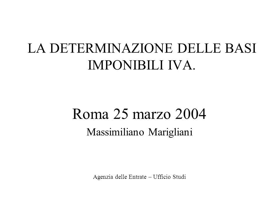 LA DETERMINAZIONE DELLE BASI IMPONIBILI IVA. Roma 25 marzo 2004 Massimiliano Marigliani Agenzia delle Entrate – Ufficio Studi