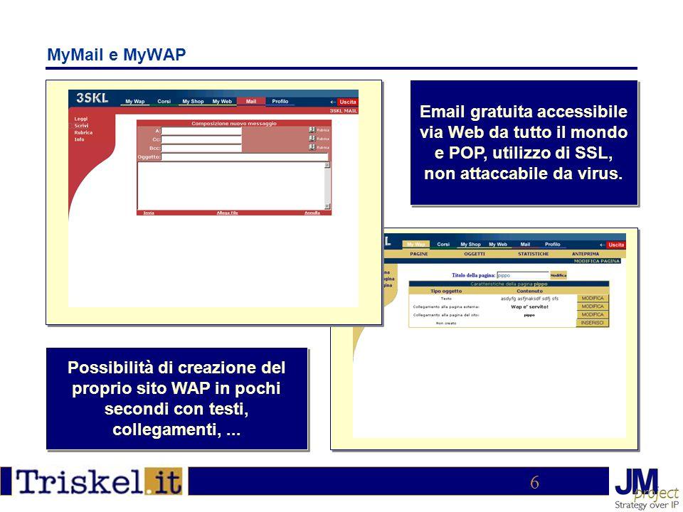 6 MyMail e MyWAP Email gratuita accessibile via Web da tutto il mondo e POP, utilizzo di SSL, non attaccabile da virus.