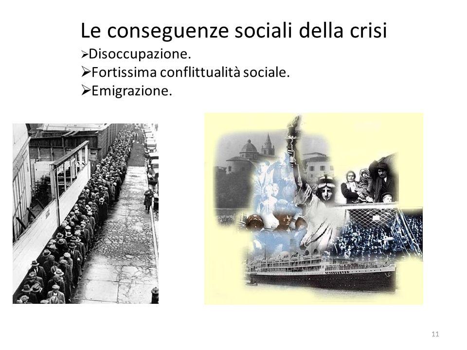 Le conseguenze sociali della crisi Disoccupazione. Fortissima conflittualità sociale. Emigrazione. 11