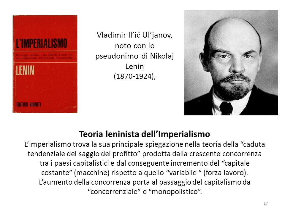 Vladimir Ilič Uljanov, noto con lo pseudonimo di Nikolaj Lenin (1870-1924), Teoria leninista dellImperialismo Limperialismo trova la sua principale sp