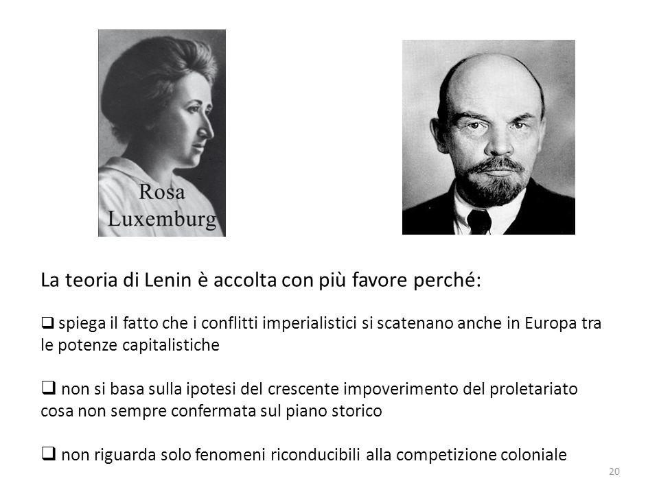 La teoria di Lenin è accolta con più favore perché: spiega il fatto che i conflitti imperialistici si scatenano anche in Europa tra le potenze capital